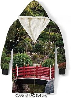 Apartment Decor Blanket Sweatshirt,Tiny Bridge Over Pond Japanese Garden Monte Carlo Monaco Along with Trees and Plants Decorative Wearable Sherpa Hoodie,Warm,Soft,Cozy,XXXL,for Adults Men Women Teen