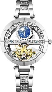 RORIOS Mujer Relojes de Pulsera Mecánico Automático Relojes Self Winding Relojes para Mujer de Correa de Piel Impermeable ...