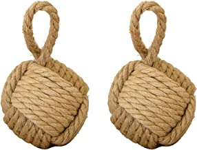 Alice's Collection - Set van 2 Heavy Nautical Rope Knot Deurstops - Lichtbruin -Diameter 17cm voor elke - Gewicht 2,2kgr v...