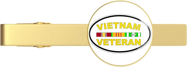 HOF Trading US Navy Vietnam Veteran Oval Military Veteran Served Gold Tie Clip Tie Bar Veteran Gift