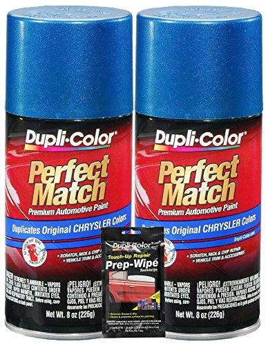 Dupli-Color Intense Blue Pearl Perfect Match Automotive Paint for Chrysler Vehicles - 8 oz, Bundles with Prep Wipe (3 Items)
