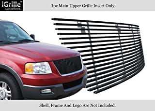 APS Compatible with 2003-2006 Ford Expedition Black Stainless Steel Billet Grille Insert F85372J
