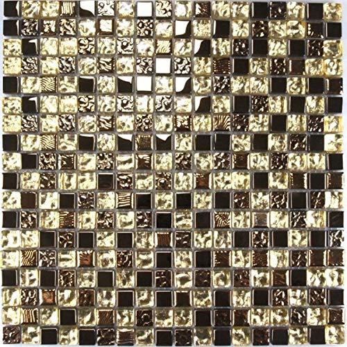 Glasmosaik Fliesen Mosaikfliesen Glasfliesen Mosaik Glas Bronze Gold 30x30 Neu