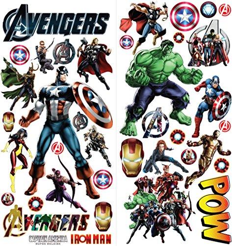 Adesivi murali personalizzati 3D Cartoon di Avengers per camere da letto decalcomanie per ragazzi e ragazze Dimensioni: Largo 76 cm X 72 cm