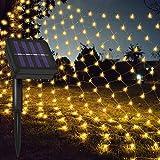 Jackallo Luces de Malla de Red, Luces LED Decorativas solares 204 Luces de Noche de Red Blancas cálidas de Hadas para decoración de Interiores al Aire Libre, jardín, Fiesta de Bodas