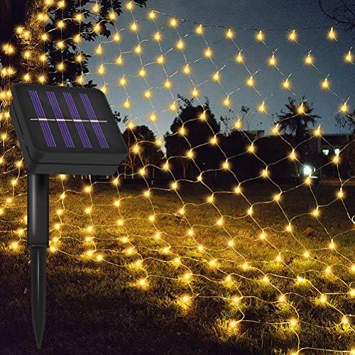 Zhongdawei Solar LED Light Net 3M x 2M Mini Ball Light String Net Light Waterproof Mesh Lights for Christmas Party Garden Outdoor Decorations