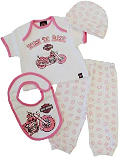 HARLEY-DAVIDSON Baby Girls' 4 Piece Boxed Gift Set, Top, Pant, Hat, Bib 0302474 Pink