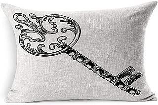 Ahawoso Linen Throw Pillow Cover King 20x36 Tattoo Steel Antiquarian Hand Drawn Lock Antique Key Sketch Vintage Access Black Classic Curiosity Drawing Gate Pillowcase Home Decor Cushion Pillow Case