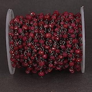 Cadena de cuentas estilo rosario de 3,5 mm - 5 mm de rubí, cuentas de rubí, cadena de plata oxidada envuelta en alambre