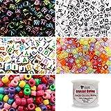 TOAOB 1200 Stück Buchstabenperlen 6x6mm und Pony Perlen mit 50 Meter weiß Elastizität 0.8mm Schmuckdrähte Mehrfarbig Kits