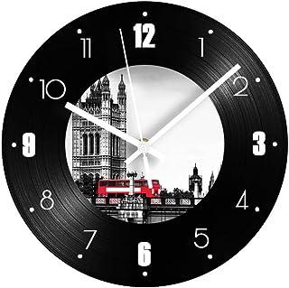 GYJCD Europa Edificio Registro Reloj De Pared Números Árabes Digitales Silencioso Vintage Reloj Decorativo Reloj Decoració...