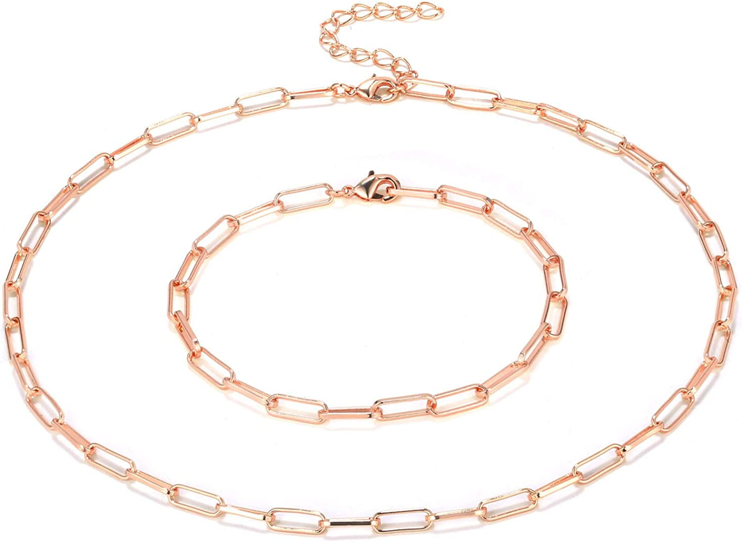 Konpicca 14K Gold Plated Dainty Paperclip Link Chain Necklace Simple Punk Charm Choker for Women Girls