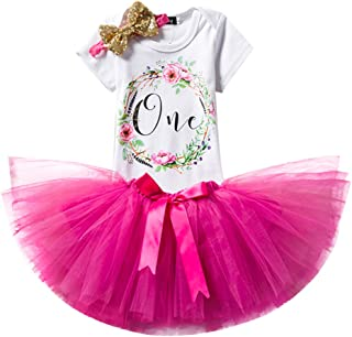 FYMNSI Newborn Baby Toddler Girls It's My 1st Birthday Cake Smash Romper + Tutu Skirt + Headband 3 Pcs Outfits