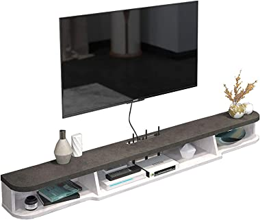 TV Cabinet, TV Lowboard, Floating Shelves, Floating TV Console, 47.2/62.9 Inch TV Cabinet, for Cable Boxes Router DVD Player,