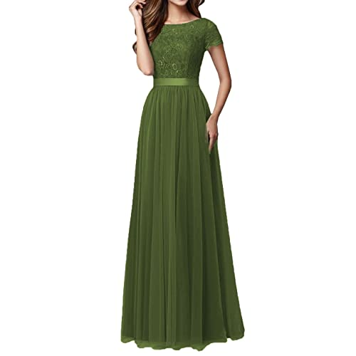 5845581e0e DYS Women s Lace Bridesmaid Dress Sleeves Tulle Prom Evening Dresses Long