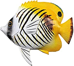 JHhomezeit 8inches Tropical Fish Decor Wall Art Sculpture Hanging for Indoor Bedroom Living Room Outdoor Garden - Gifts Idea for Best Friends