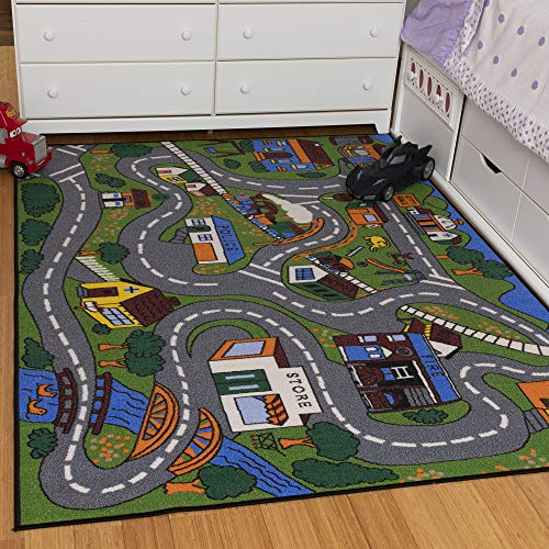 Ottomanson Jenny Collection Grey Base with Multi Colors Kids Children's Educational Road Traffic System Design(Non-Slip) Area Rug, 5'0