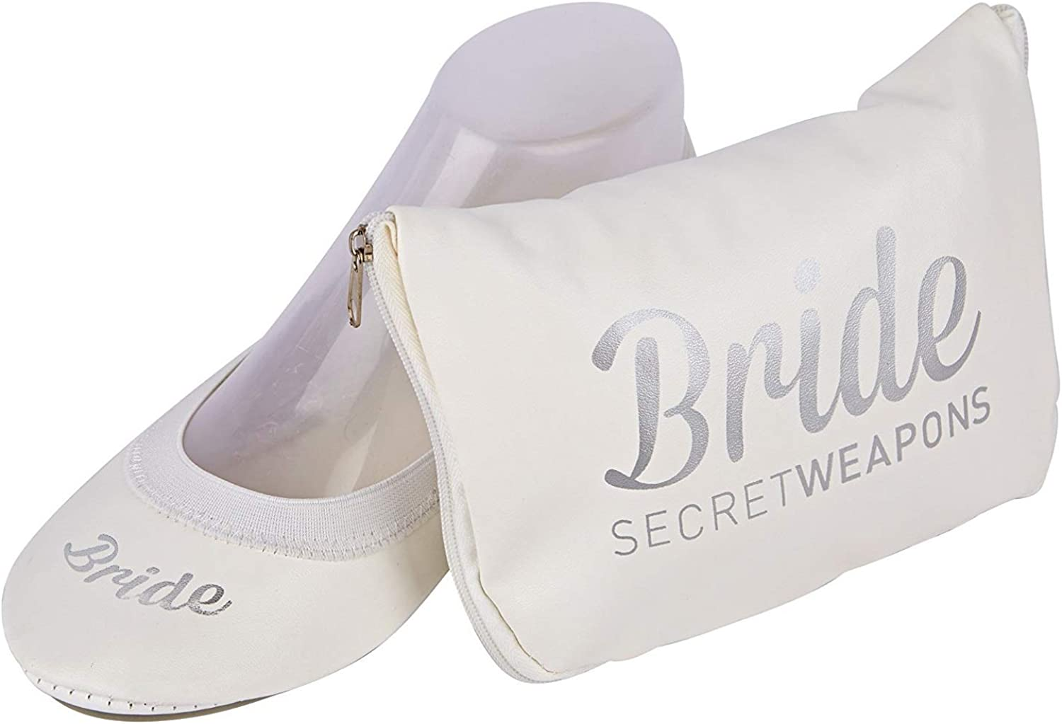 SECRET WEAPONS White Bride Fold Up Ballet Flats-White Foldable shoes with Bride Print-Cute Purse & Tote Carry Bag