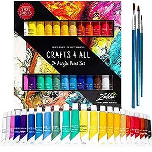 Pintura acrílica 24 set de Crafts 4 All para papel, lienzo, madera, cerámica, telas y manualidades. Colores no tóxicos…
