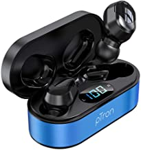 pTron Bassbuds Plus in Ear True Wireless Stereo Headphones TWS Made in India Bluetooth Earphones IPX4 with HD Mic Blue Black