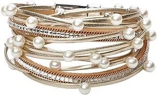 Multi Layer Leather Bracelet Braided Wrap Cuff Bangle Alloy Clasp Handmade