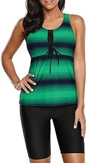 Aleumdr Womens Racerback Color Block Print Tankini Swimsuits Swim Capris S-XXXL