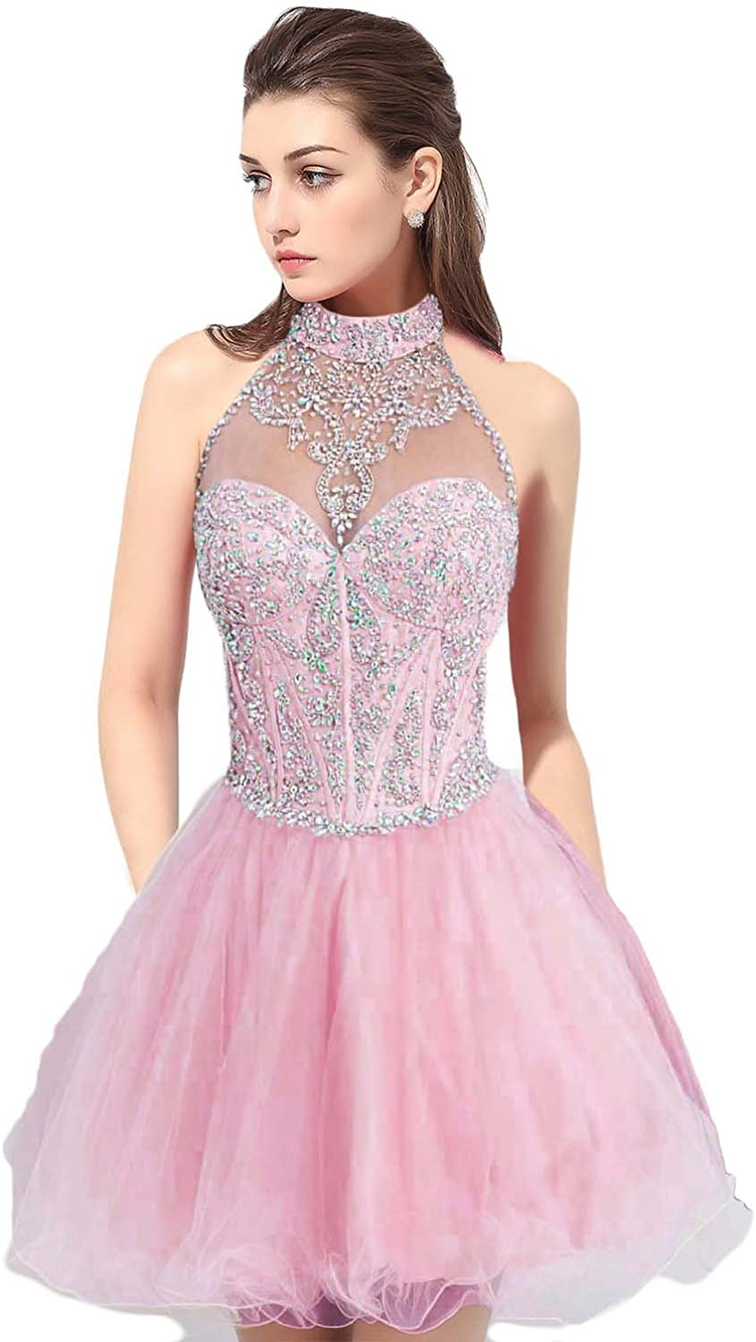 YSMei Women's Beaded Bodice Halter Tulle Prom Party Dress with Open Back ON026