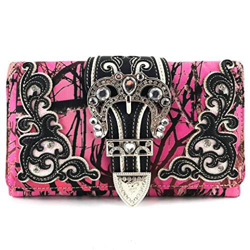 Zelris Camouflage Shine Glow Silver Buckle Women Crossbody Trifold Wallet (Pink)