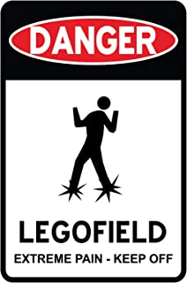 Vinyl is your Friend Danger Lego Field Door Solid Sign Wall Decor for Lego Fans and Brick Builders Rooms 2323 (Small - Sign)