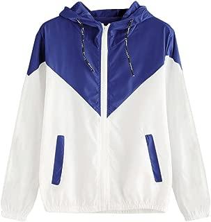 Sunmoot-Coats Lightweight Windbreaker Womens Jacket 2019 Autumn Color Block Patchwork Thin Zipper Hooded Coat Side Pockets