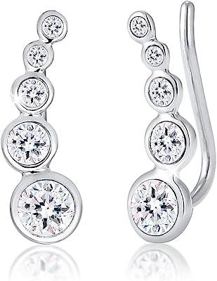 Elli Pendientes para dama forma geométrica con cristales en plata de ley 925