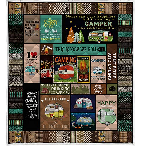 "LIVIN' ILLUSION Camping Quilt Pattern Blanket Quilted Christmas Birthday Customized Little Kids Graduation Gifts All Season Warm Quilt Blanket for Bed Sofa (US King 90""×102""(230cm×260cm))"