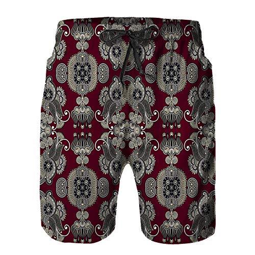 Hombres Verano Secado rápido Pantalones Cortos Playa geometría Vintage Floral Trama de Patrones sin Fisuras Trajes de baño Correr Surf Deportes-3XL