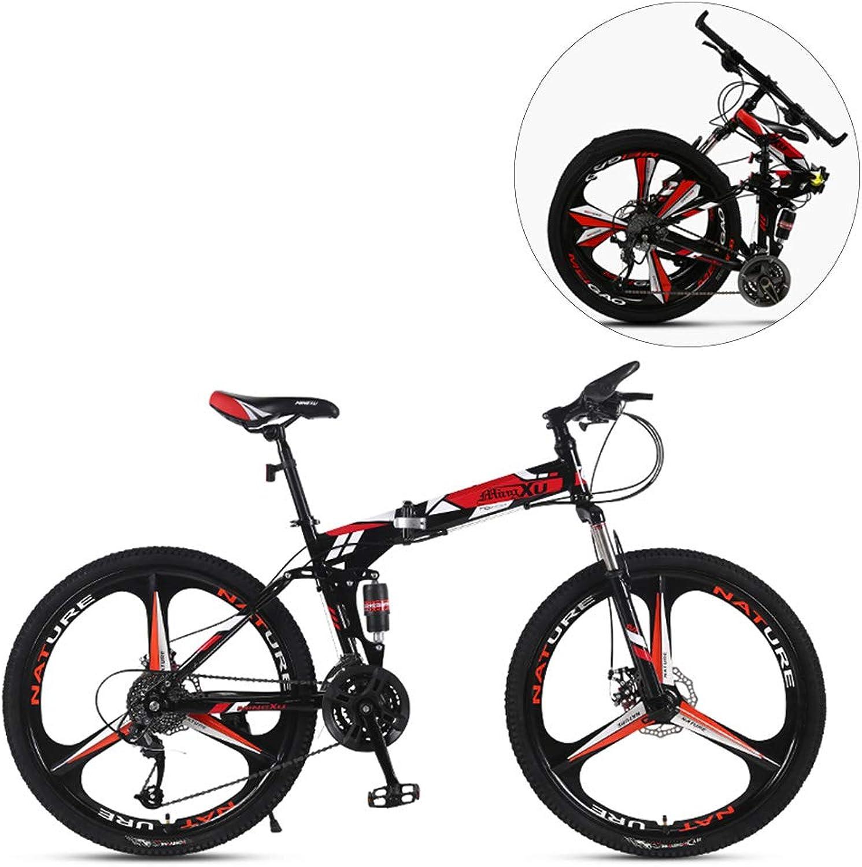 online barato MIRC Bicicleta de Montaña Plegable Plegable Plegable de 24 Pulgadas   26 Pulgadas Bicicleta de Velocidad Variable para Adultos, Adultos y Adultos, Hombres y Mujeres, Bicicleta,rojo,S  descuentos y mas