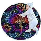 Alfombra redonda con diseño de libélulas indias de mandalas, de 81 cm, con forro antideslizante, suave, para sofá, sala de estar, dormitorio, decoración moderna del hogar