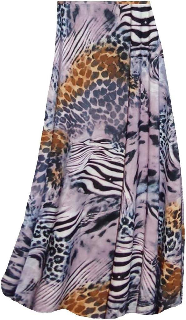 Lilac Brown Multi Animal Skin Slinky Print Plus Size Supersize Skirt