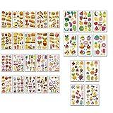 Lindos tatuajes temporales para niños pequeñas pegatinas de tatuajes falsos con más de dulces, piruletas, donas, hamburguesas de frutas para niñas y niños, regalos y fiestas de cumpleaños