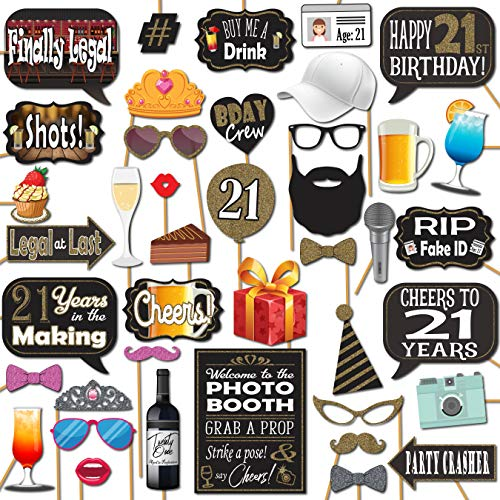 21st Birthday Party Photo Booth Props 41 Pieces with Wooden Sticks and Strike a Pose Sign by Outside The Booth