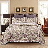 Dodou Queen Size European Gorgeous Floral Pattern Bedspread Quilt Sets-Reversible Patchwork Coverlet Set Patchwork Quilt Bedding Set 3pc