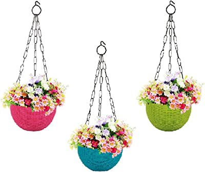 MUCH-MORE® Plastic Plant Pot with Hanging Chain | Flower Hanging Pot for Home Gardening (Multi-Colour HD-13)