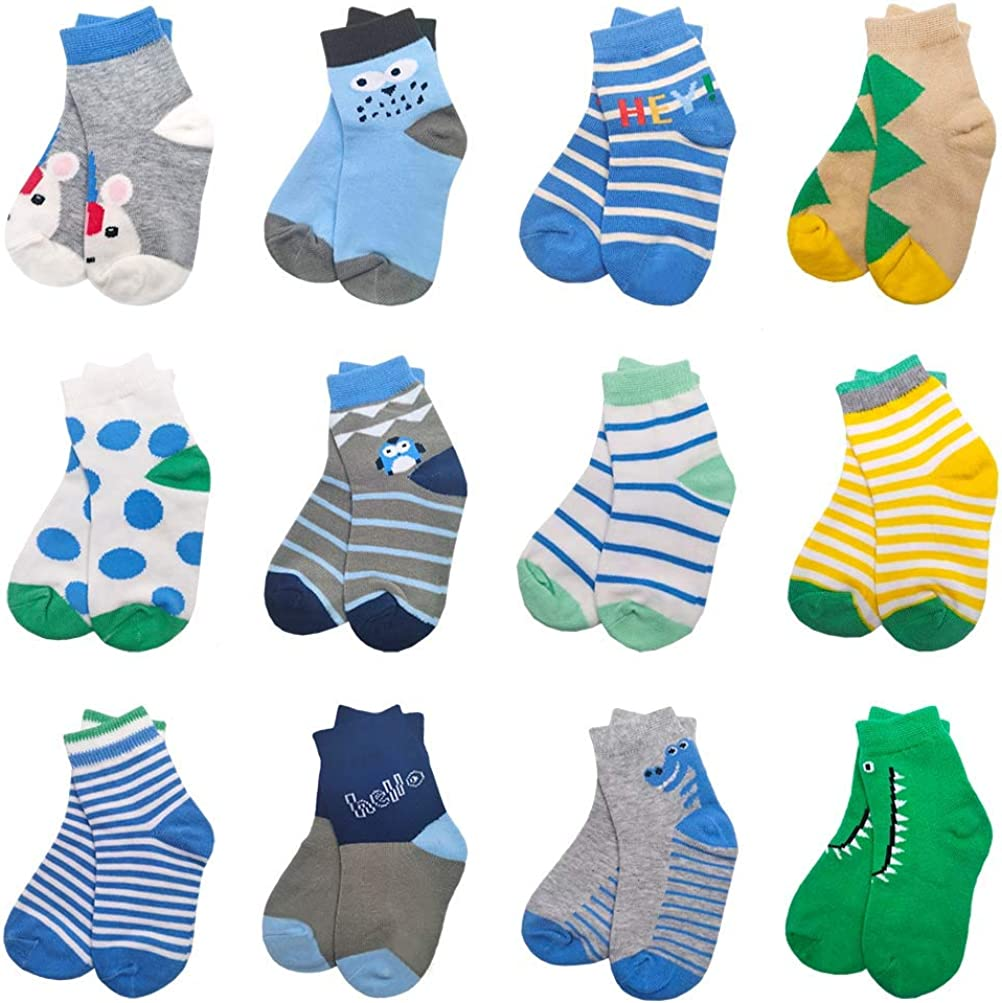 12 Pairs Kids Socks Soft and Breathable Cotton Socks with Colorful Design for Children All Seasons