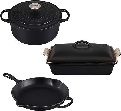"""Le Creuset 5.5-QT Dutch Oven & Lid Cookware Set Bundle with 11 3/4"""" Signature Skillet, and 4-QT Rectangular Casserole Dish & Lid - 5-Piece, Licorice"""