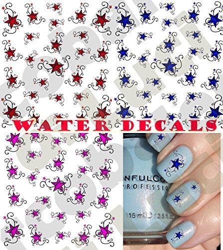 AWS Set Water Decals étoiles notice étoiles Style tattoo tribal transfert ongles Nail Art Stickers transfert à eau Sheet of stars Tattoo Stickers Auto