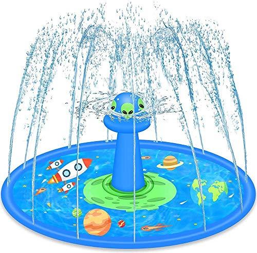LUKAT Sprinkler for Kids, 68'' UFO Inflatable Splash Pad with Rotating Sprinkler Head, Summer...