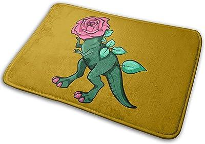 Rose Dinosaur Carpet Non-Slip Welcome Front Doormat Entryway Carpet Washable Outdoor Indoor Mat Room Rug 15.7 X 23.6 inch