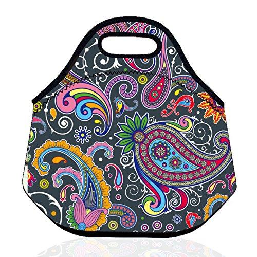 ZMvise Lot de sacs à déjeuner isotherme en néoprène avec motif floral pour homme, femme, enfant, infirmières