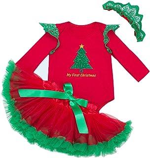 eaebb89034409 Vine Robe Bébé Enfants Filles Pyjama Coverall Manches Longues Tutu Robe  Père Noël (0-