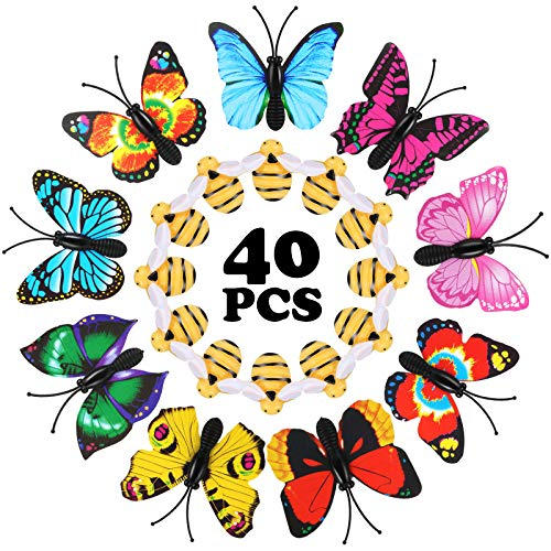 40 Pieces Bees and Butterfly Thumb Tacks Cute Decorative Thumb Tacks ThumbNails Push Pins Decorative Pushpins for Wall, Whiteboard, Corkboard, Photo Wall, Maps or Bulletin Board