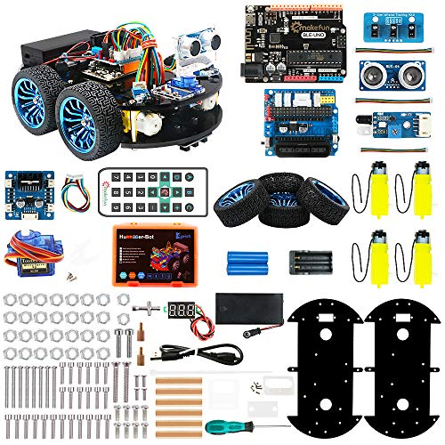 Keywishbot Smart Robot Car Kit, 4WD Remote Control Car for Arduino DIY Learning Kit,with BLE Development Board,Ultrasonic Sensor,Great Educational STEM Toys Gift, Support Scratch Library