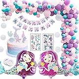 MMTX Party Decorations Fournitures, Joyeux Anniversaire Ballon bannière, Pour Bébé Fille Garçon Lady Birthday Party,Mariage (Sirène)